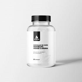 CÁPSULAS DE CHÁS VERMELHO, VERDE E AMORA - na redução da absorção de carboidrato (30 doses)